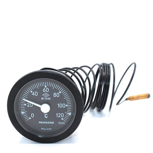 Капиллярный термометр Pakkens диаметром 52 мм 120 °C 3 метра для автоклавов, коптилок, сауны, бани, котлов, буферных емкостей, систем отопления