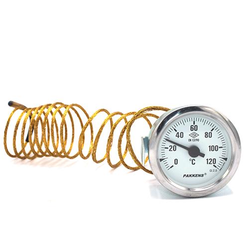 Капиллярный термометр Pakkens диаметром 60 мм 120 °C 2 метра для автоклавов, коптилок, сауны, бани, котлов, буферных емкостей, систем отопления