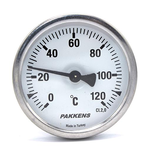 Термометр патронного типа Pakkens 10 см диаметром 63 мм 120 °C для автоклавов, коптилок, сауны, бани, котлов, буферных емкостей, систем отопления