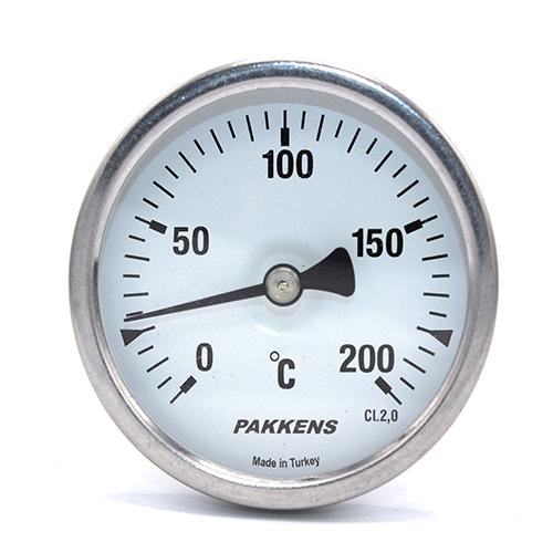 Термометр патронного типу  Pakkens 10 см діаметром 63 мм 200 °C ля тандиров, мангалов, гриль, барбекю, помпейскої печі, печі для піцци, руської печі, духових шаф, пекарських шаф, фритюрниць