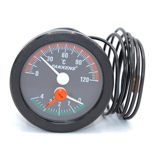 Термоманометр капиллярный Pakkens диаметр 52 мм 0-120 °C  0-4 бар для автоклавов, котлов, буферных емкостей, систем отопления