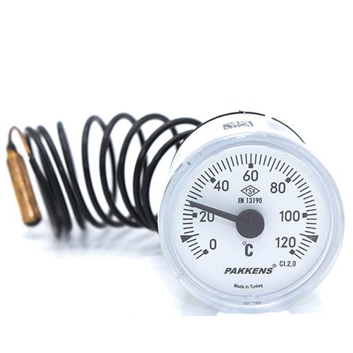 Капиллярный термометр Pakkens диаметром 40 мм 120 °C для автоклавов, коптилок, сауны, бани, котлов, буферных емкостей, систем отопления