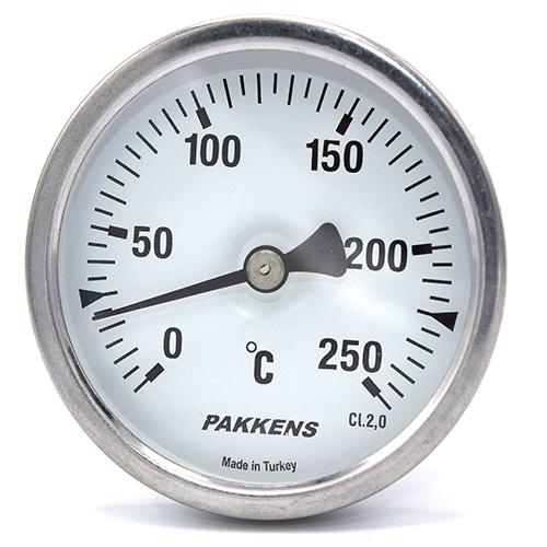 Термометр патронного типу  Pakkens 10 см діаметром 63 мм 250 °C для тандиров, мангалов, гриль, барбекю, помпейскої печі, печі для піцци, руської печі